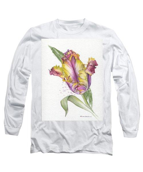 Long Sleeve T-Shirt featuring the painting Tulip -  Elena Yakubovich by Elena Yakubovich