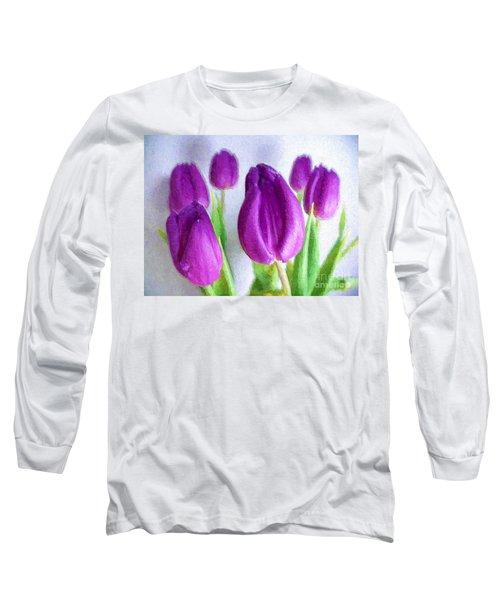 Tulips In Digital Oil Impasto Long Sleeve T-Shirt