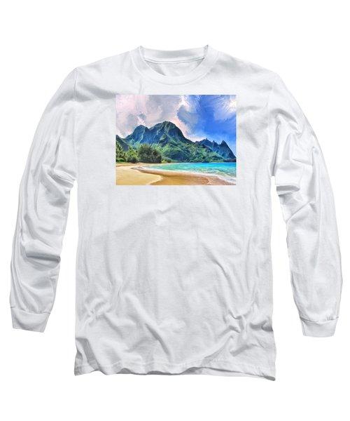Tunnels Beach Kauai Long Sleeve T-Shirt by Dominic Piperata