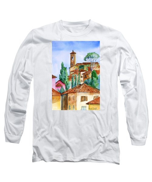 Long Sleeve T-Shirt featuring the painting Tuscan Rooftops  -montecatini Alto by Trudi Doyle