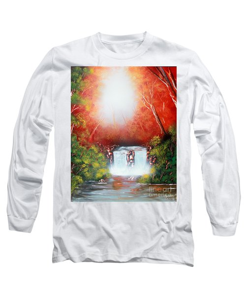 Long Sleeve T-Shirt featuring the painting Twin Falls  by Greg Moores