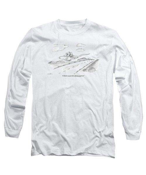 Two Aliens Fly A Saucer Down A Highway Long Sleeve T-Shirt