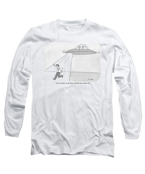Two Aliens In A Flying Saucer Hit A Man Long Sleeve T-Shirt