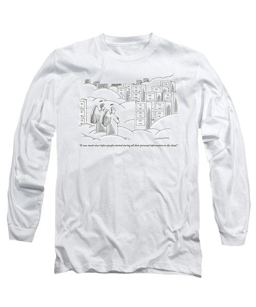 Two Angels In Heaven Observe A Landscape Long Sleeve T-Shirt