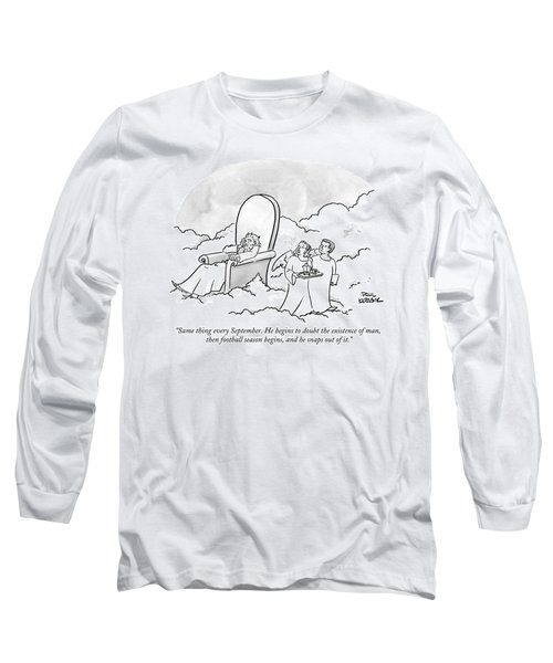 Two Angels Look On At God In His Throne Long Sleeve T-Shirt