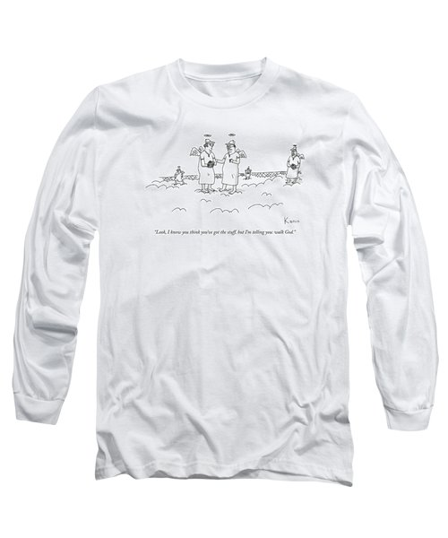 Two Angels Speak To Each Other In A Baseball Long Sleeve T-Shirt