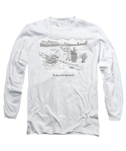 Two Bears Drink Martinis On The Bank Of A River Long Sleeve T-Shirt
