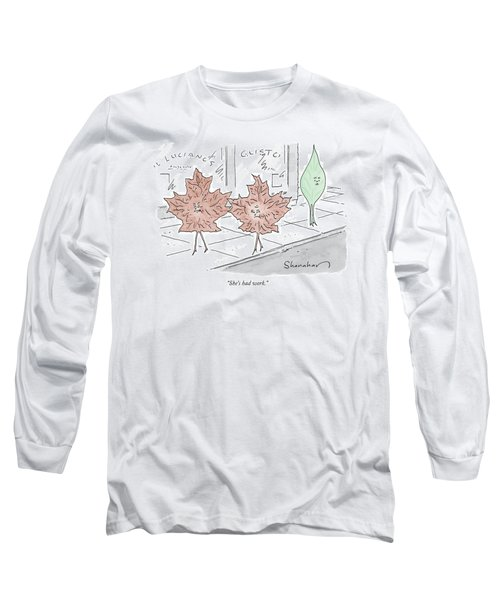 Two Brown Leaves Speak About A Green Leaf Long Sleeve T-Shirt