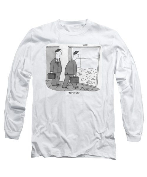 Two Businessmen Walk Towards An Open Elevator Long Sleeve T-Shirt
