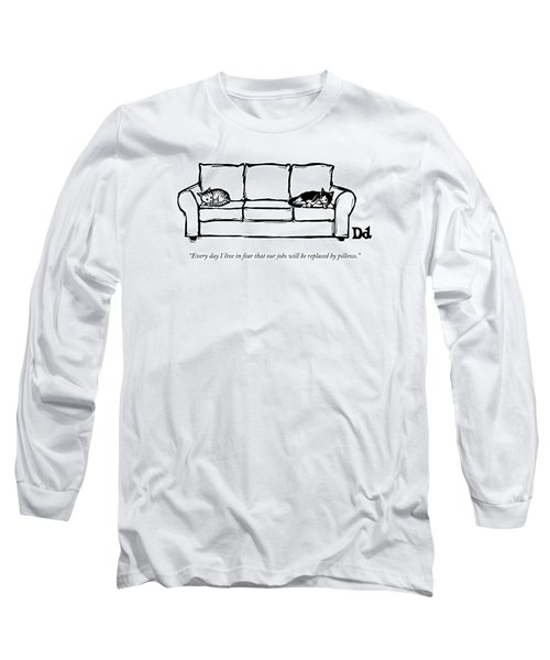 Two Cats Curl Up At Each End Of A Sofa Long Sleeve T-Shirt