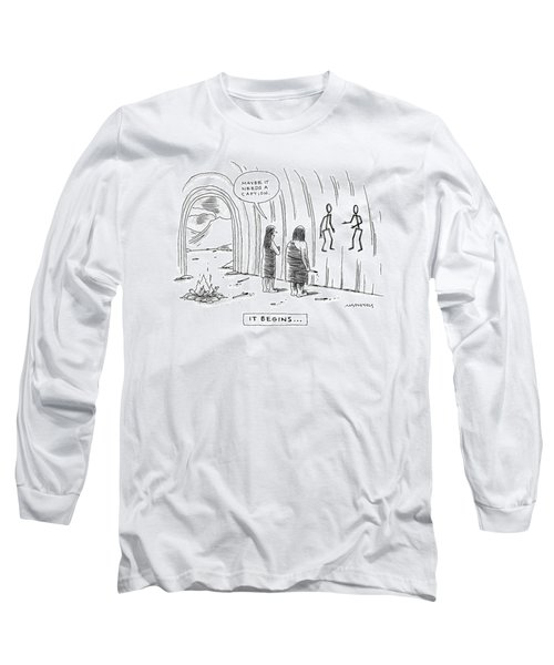 Two Cave People Ask Whether A Cave Drawing Needs Long Sleeve T-Shirt