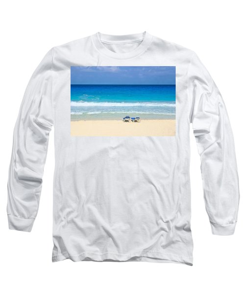Two Chairs On Cancun Beach Long Sleeve T-Shirt