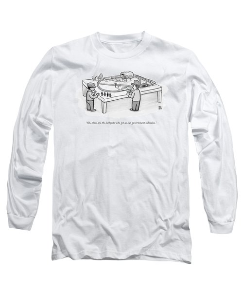 Two Children Play With A Toy Train Set Long Sleeve T-Shirt
