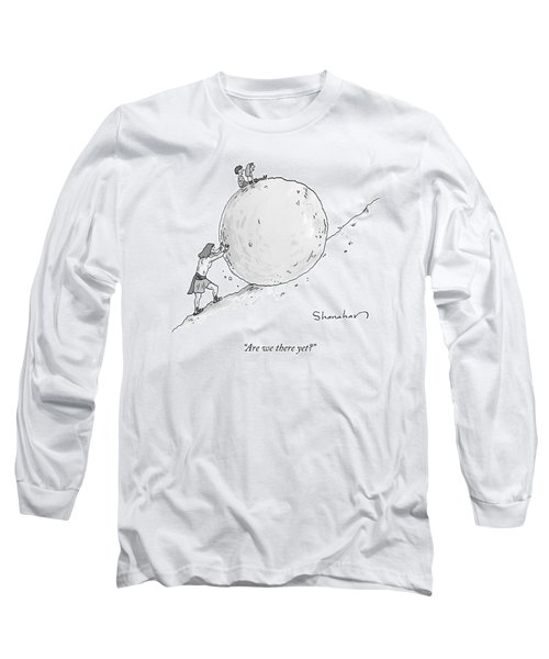 Two Children Sit At The Top Of Sisyphus's Boulder Long Sleeve T-Shirt