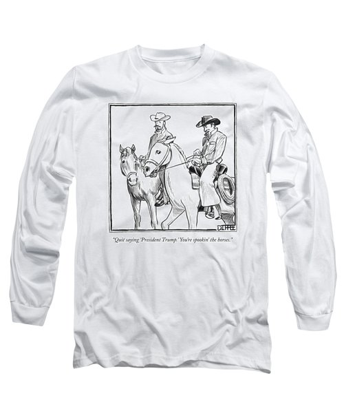 Two Cowboys On Horseback Converse Long Sleeve T-Shirt