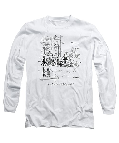 Two Devils Lead A Bunch Of People Into An Open Long Sleeve T-Shirt