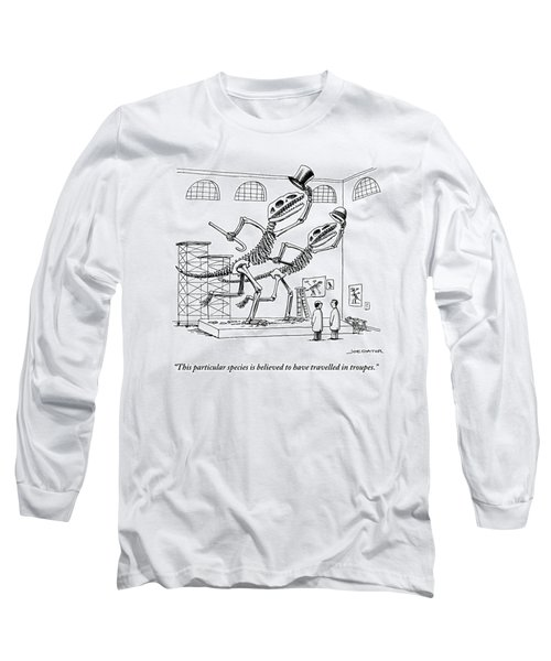 Two Dinosaur Skeletons At A Museum Long Sleeve T-Shirt