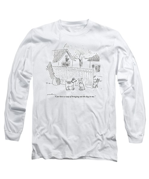 Two Dogs Are Speaking With A Cat Walking Near By Long Sleeve T-Shirt