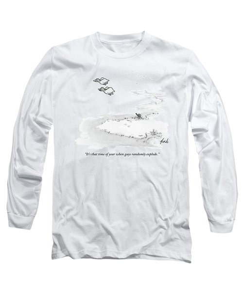 Two Ducks Fly Over A Pond. A Hunter Hides Long Sleeve T-Shirt