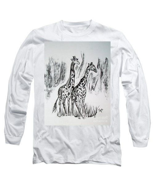 Long Sleeve T-Shirt featuring the drawing Two Giraffe's In Graphite by Janice Rae Pariza