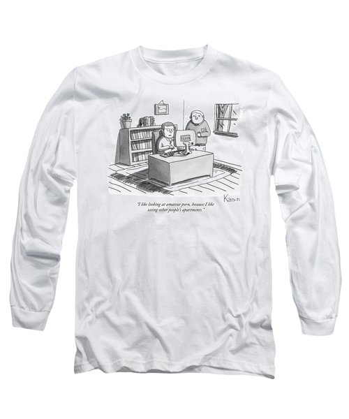 Two Guys Look At A Computer Long Sleeve T-Shirt