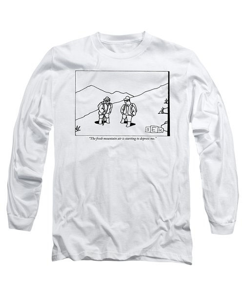 Two Hikers Are Talking To Each Other Outdoors Long Sleeve T-Shirt
