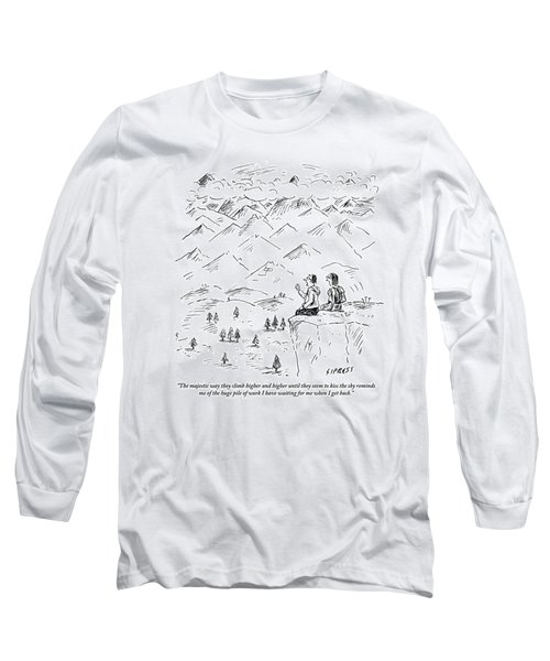 Two Hikers In A Mountainous Area Are Resting. One Long Sleeve T-Shirt