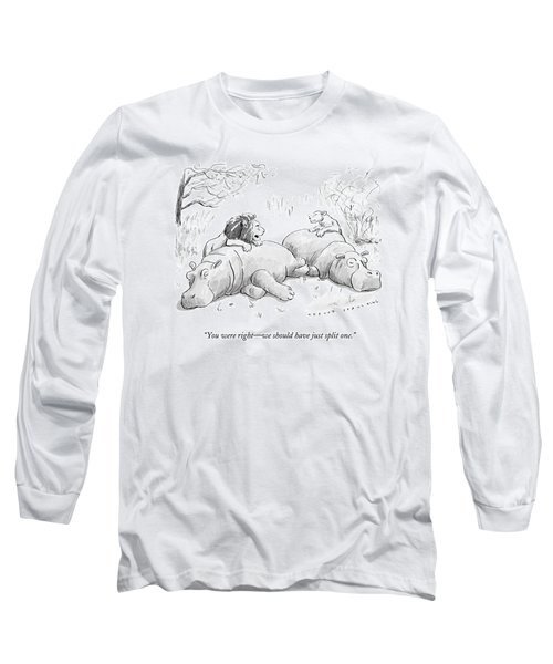 Two Lions Prepare To Dine On Two Hippopotami Long Sleeve T-Shirt