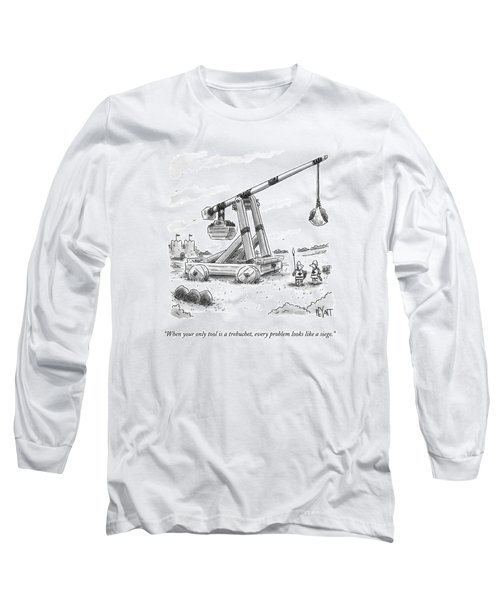 Two Medieval Soldiers Stand By Their Catapult Long Sleeve T-Shirt