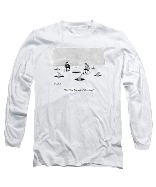 Two Men Ice Fishing Long Sleeve T-Shirt