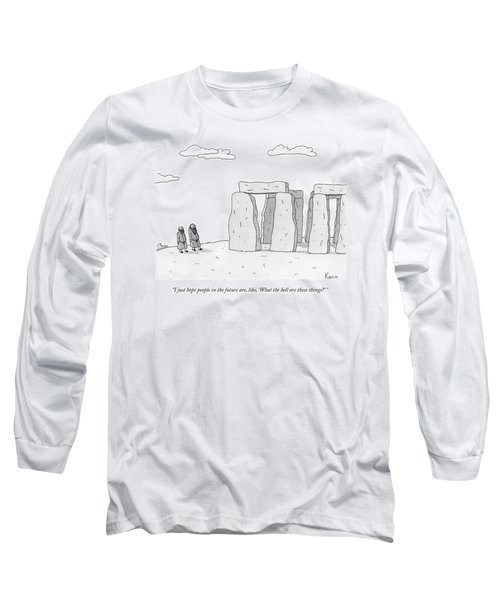 Two Men In Robes Chat Beside Stonehenge Long Sleeve T-Shirt