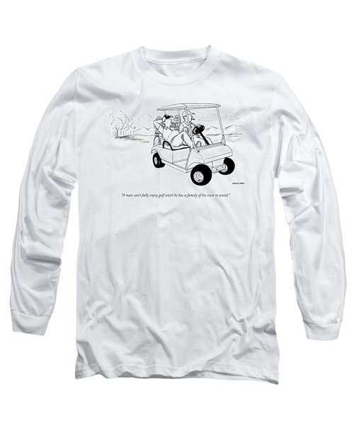 Two Men Ride In A Golf Cart Long Sleeve T-Shirt
