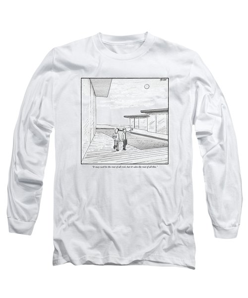 Two Men Touring The Outside Of A Big House Long Sleeve T-Shirt