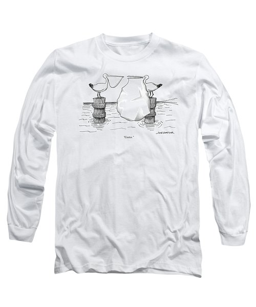 Two Pelicans Converse As The Other's Beak Long Sleeve T-Shirt