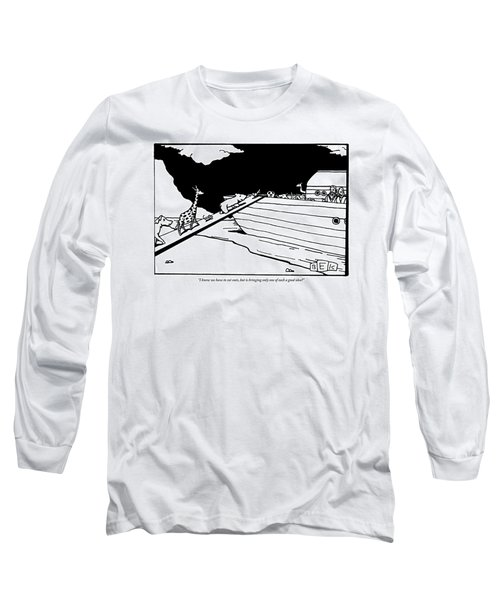 Two People Watch From An Ark As Animals Board Long Sleeve T-Shirt
