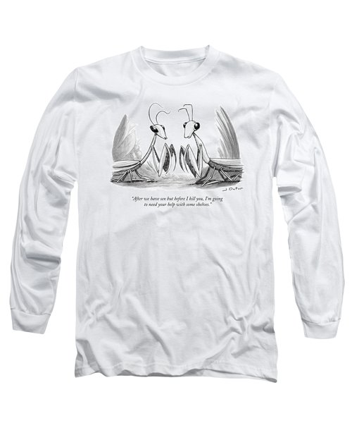 Two Praying Mantises Facing Each Other Long Sleeve T-Shirt