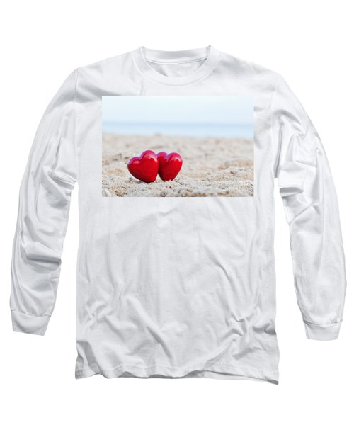 Two Red Hearts On The Beach Symbolizing Love Long Sleeve T-Shirt
