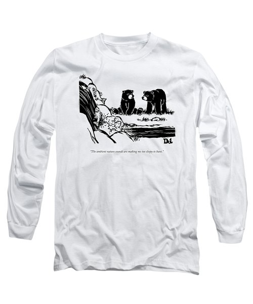 Two Sluggish Bears Converse By A Fish-filled Long Sleeve T-Shirt