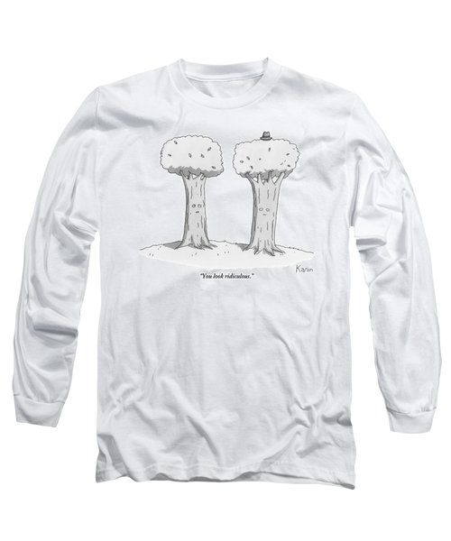 Two Trees With Faces Are Seen Next To Each Other Long Sleeve T-Shirt