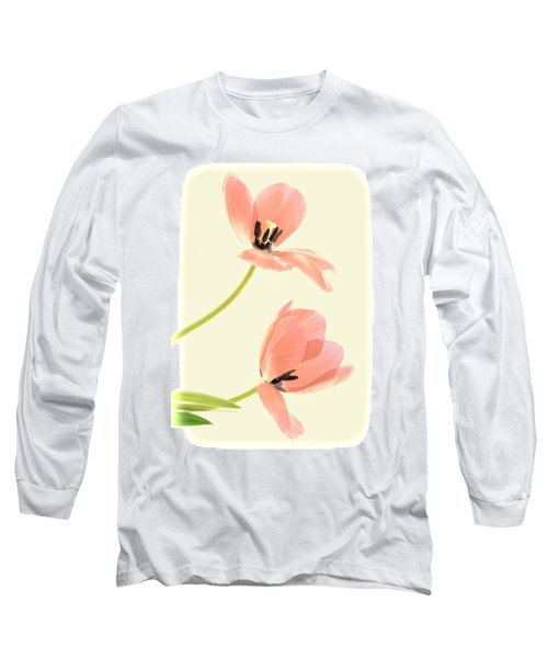 Two Tulips In Pink Transparency Long Sleeve T-Shirt