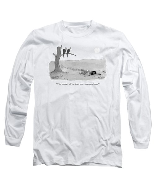 Two Vultures Watch A Man Crawl Long Sleeve T-Shirt