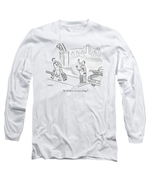 Two Waving Parents Speak To Their Son Who Long Sleeve T-Shirt