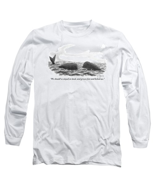 Two Whales Are Seen In Water In Conversation Long Sleeve T-Shirt