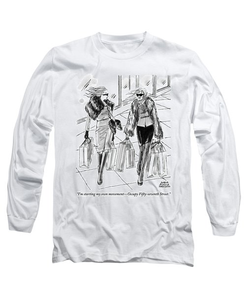 Two Women Dressed Nicely Walk Together Carrying Long Sleeve T-Shirt