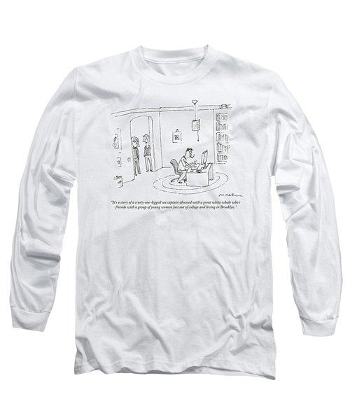 Two Women In A Doorway Talk As A Man Writes Long Sleeve T-Shirt