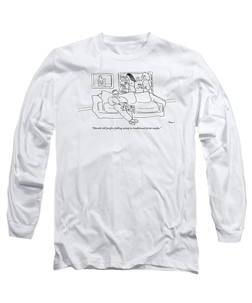 Two Women In A Living Room Walk Behind A Man Long Sleeve T-Shirt