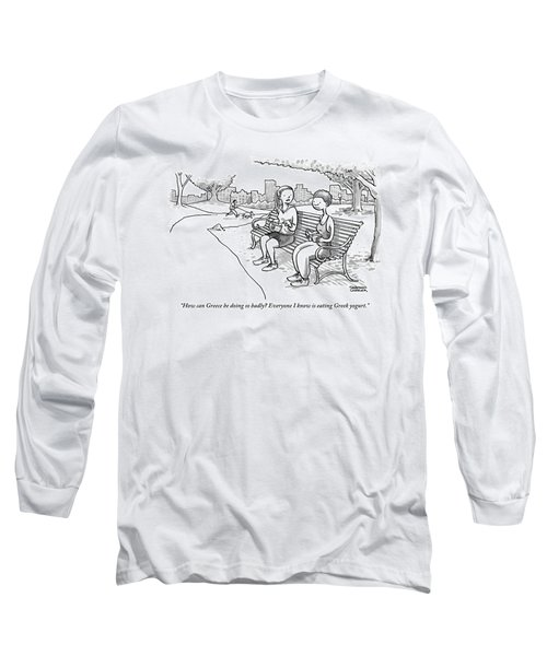 Two Women In Exercise Clothes Sit On A Park Bench Long Sleeve T-Shirt