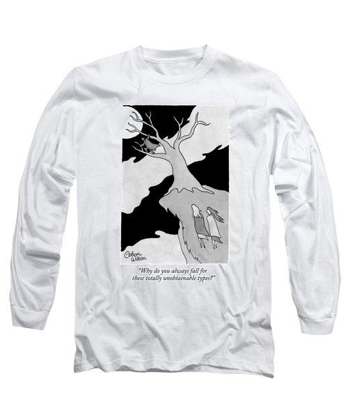 Two Women Speak On A Jutting Cliff. A Man Long Sleeve T-Shirt