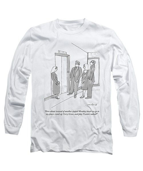 Two Working Men And Two Working Women Wait For An Long Sleeve T-Shirt