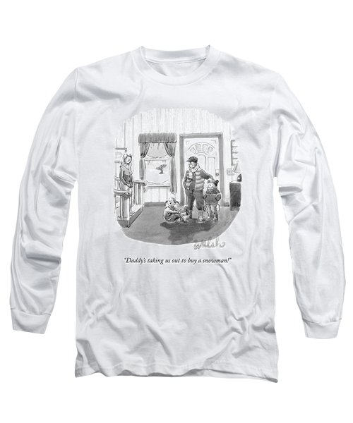 Two Young Girls Stand With Their Parents Long Sleeve T-Shirt